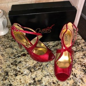EUC w/ box! Carlos red peep toe heels, size 8.
